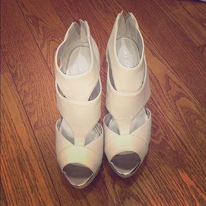 Tan white aldo stilettos